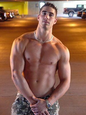 Shirtless Male Jock Muscle Frat boy Pecs Abs Arms Cocky PHOTO 4X6 Pinup P547****