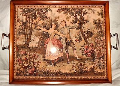Antique/vintage Wooden Serving Tray With Classic Tapestry Insert Of Lady & Gent