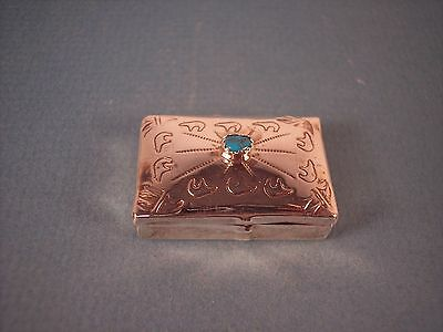 Navajo Hand Stamped Sterling Silver  & Turquoise Pill Box by Sam Benally, NEW