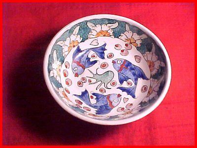 Hand-Painted Colorful Signed Turkey/Turkish Fish/Floral Decoration Pottery Bowl