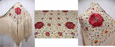 Antique Silk Piano Shawl Canton Embroidered Long Fringe Vivid Floral