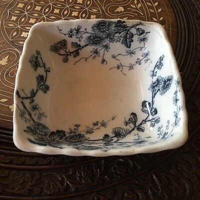 "Antique W H Grindley Spring Pattern Flow Blue Small Dish Berry Bowl 5"" x 5"""