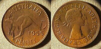 Australia : 1955(m)  1 Penny CH.UNC Most Red  Luster Beautiful #56   IR7140