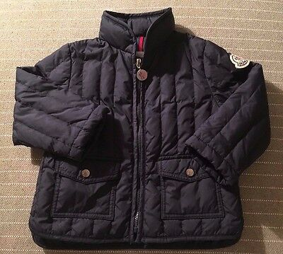 Moncler Baby Toddler Boy 12-18 M 80cm Navy Blue Light Puffy Quilted Jacket Coat