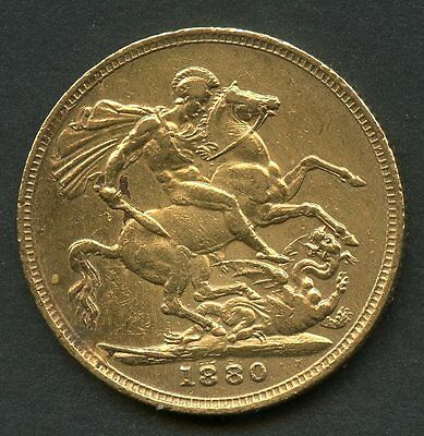 Great Britain 1880  Gold Sovereign Contains .2354 Ounces Of Pure Gold You Grade