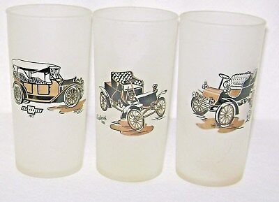 3 Hazel Atlas Antique Auto Frosted Glass Tumblers Chevrolet Packard Cadillac