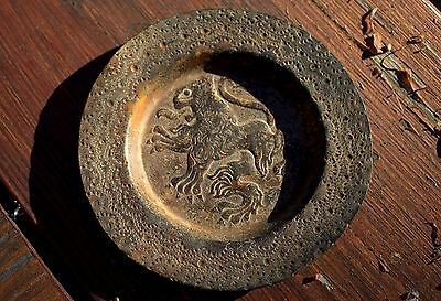 Fabulous Small Very Old Ancient Detailed Bronze Plate Depicting A Raging Lion