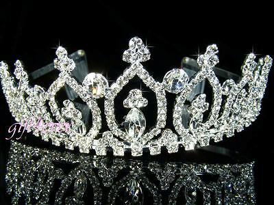 SALE Prom made with Swarovsk Crystal Queen Silver Plated Tiara Xmas Party T052