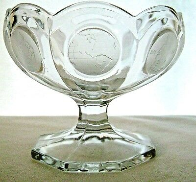 Vintage Fostoria Coin Glass Compote Footed Bowl 1977 Avon 91st Anniversary