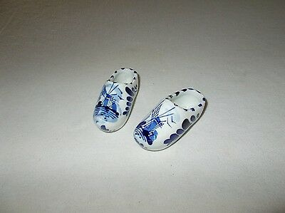 Vintage small sized pair Dutch Delft hand painted porcelain shoes
