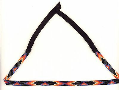 Navajo Black Beaded Hatband with Geometric Designs by Sarah Benally, NEW