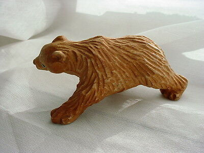 Vtg Hand Carved Bear with Glass Eyes Figurine 3 inch Primitive