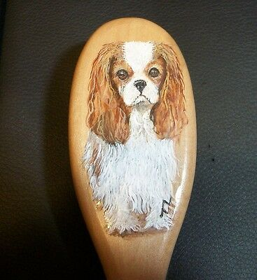 Hand Painted Cavalier King Charles Spaniel Oval Wood wire Pin Brush Small