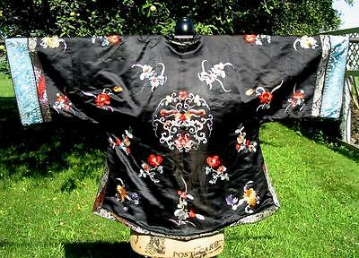 Antique Vintage Chinese Embroidered Black Jacket Robe Fancy Butterflies Flowers