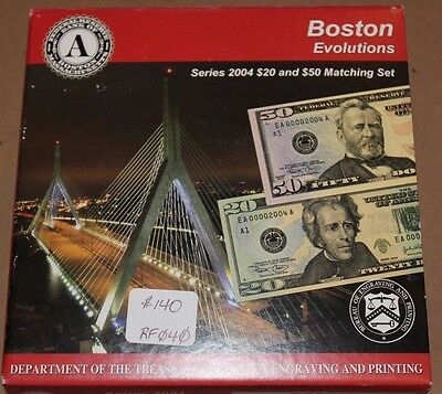 Boston Evolutions Series 2004 $20 & $50 Federal Reserve Matching Set JE471
