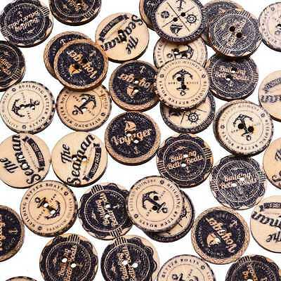 50Pcs Mixed Style Wood Button 2 Holes Apparel Sewing Scrapbooking Crafts 20*20mm