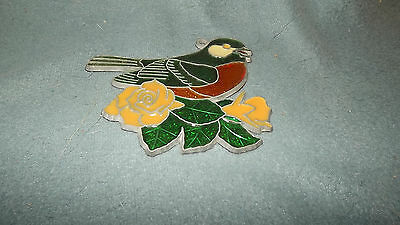 Colorful Floral Bird Stained Glass SunCatcher Christmas Ornament NEW