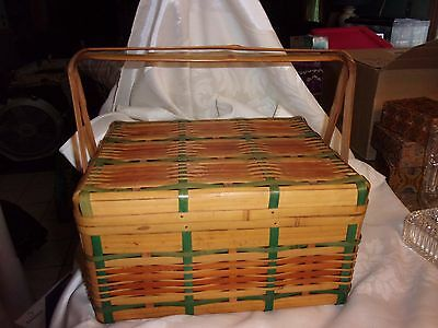 "Japanese Vintage Bamboo Woven Hinged Basket Lid handles - 12"" x 10"" x 7"" LOTkNT"