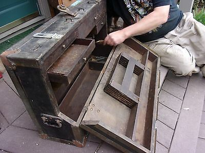Antique Wood Brass Machinist Tool Chest Box no key Yale & Towne  lock LOTRAY