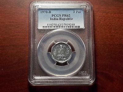 1970B INDIA Republic 3 Paise PROOF coin PCGS PR-62