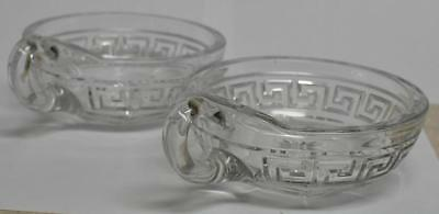 Heisey Two Greek Key Handled Jelly Dishes