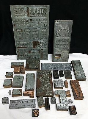 Wood Printing Press Block Plate Advertising Navy Cafe Food Comic Strip Golf Tool