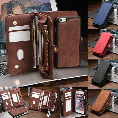 Leather Removable Wallet Magnetic Flip Card Case Cover for iPhone 7/7 Plus