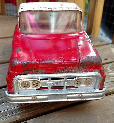 Vintage 1960s Red Tonka Toys Stepside Toy Truck Pickup Pressed Steel