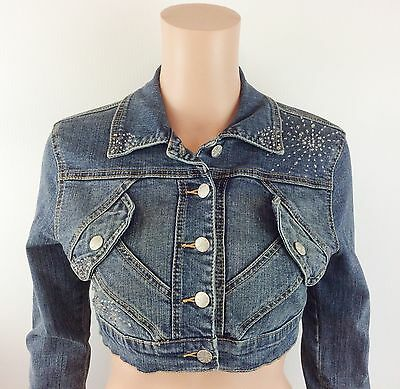 Women's Younique Long Sleeve Crop Top Jean Jacket Button Closure Size Small