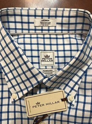 NEW W TAGS $125 Men's Peter Millar Nanoluxe Easycare Blue White  Dress Shirt M