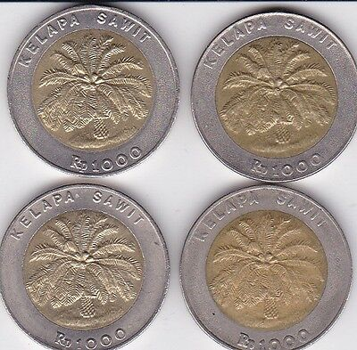 4 x  INDONESIA BI-METAL COIN Rp 1000  dated 1996 and 2000