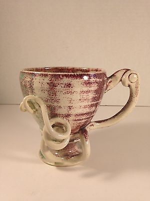 """Unique Hand Thrown Art Pottery Mug Signed L Watson 4"""" Tall"""