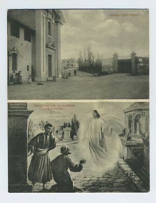 Early Italian Foreign Double Fold Postcard Rome Italy Quo Vadis Chapel bv339