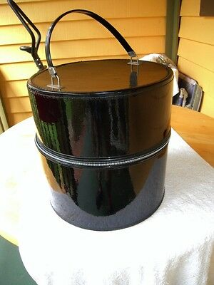 "Bagmaster Vintage Round Black Hat Box/Storage - Vinyl w/ Zipper + Lock 13"" x 13"""