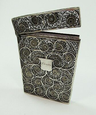 Victorian Filigree Solid Silver Calling Card Case Engr Florine & MLM Antique