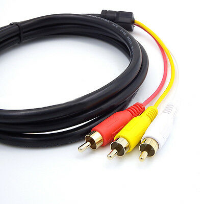 HDMI auf 3 RCA RGB Adapter Cinch Kabel 1,5m Video Audio AV Cable Stecker TV HDTV