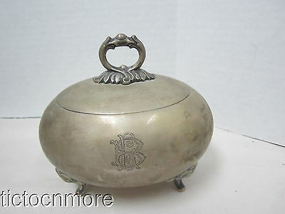 ANTIQUE SIGNED GERMAN 800 SILVER FOOTED HINGED COVER OVAL CANDY NUT BOWL 235gr