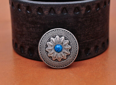 10PC 25X25MM Retro Silver Sun Flower Turquoise Rope Handcraft Screwback Conchos