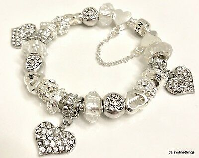 Authentic Pandora  Bracelet W/ Charms Hearts Love   Choice Of Packaging