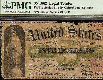 Large 1862 $5 Dollar Bill United States Greenback Legal Tender Note Currency Pmg