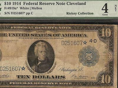 Large 1914 Star $10 Dollar Bill Low Pop Fed Note Big Paper Money Currency Pmg
