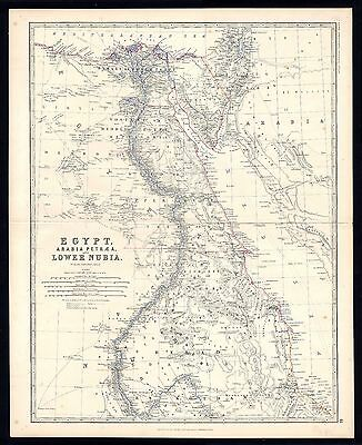 Map of Egypt, Arabia Petraea etc.,  from Keith Johnstons General Atlas, 1879