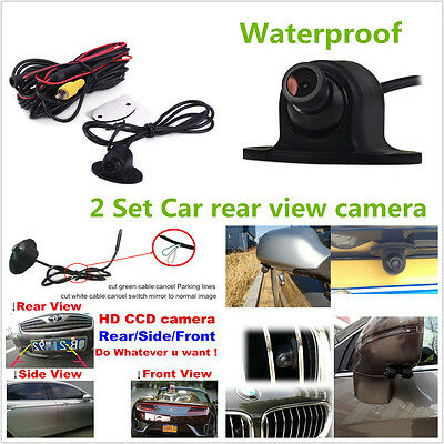 2 Set 360° HD Car Front Side Rear View Mirror Reverse Backup Camera Parking Kit