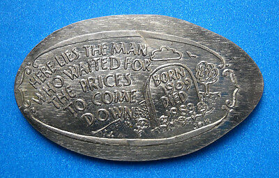 Cheapskate Tombstone elongated nickel not penny USA 5 cent 1909 1983 coin