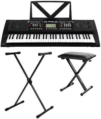 Deluxe 61 Tasten Digital Keyboard E-Piano Klavier Set Ständer Bank LCD USB MIDI