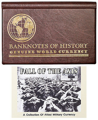 Fall of Axis Allied Military Currency 8-Banknote Collection Album W/COA SKU47170