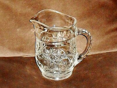 "Cut glass pitcher - 1 pint - unsure of maker - 5.5"" tall"