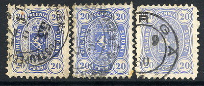 FINLAND 1875  20p three shades on thick paper  perforated 11  used