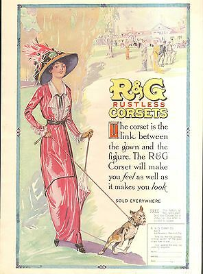 1913 R + G  Corsets Lady With Dog Ad   Original Vintage