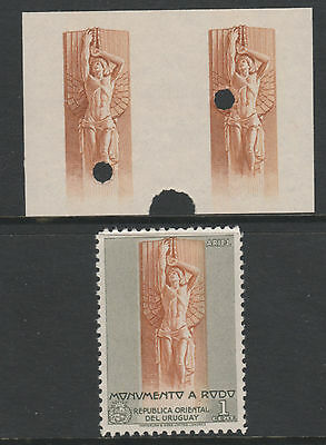 Uruguay 4791 - 1948 RODO MONUMENT  IMPERF PROOF PAIR VIGNETTE ONLY